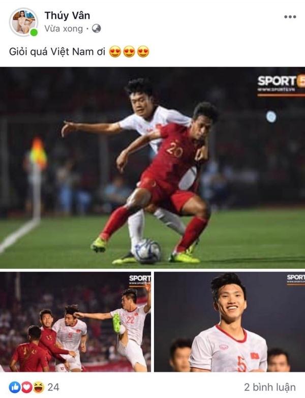 Trở về sau danh hiệu Á hậu 2 tại Miss Universe Vietnam 2019, Thúy Vân cũng hòa chung niềm vui cùng dân tộc.