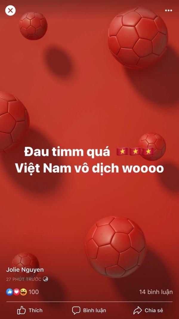 'Đau tim' khi theo dõi trận chung kết, không biết giờ đây cảm xúc của Jolie Nguyễn thế nào?