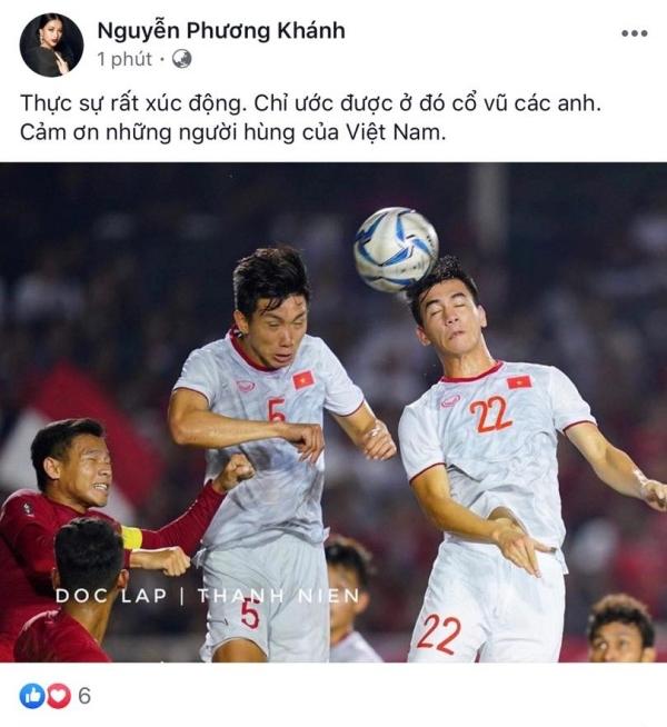 Cựu Hoa hậu Trái đất Phương Khánh xúc động cảm ơn những người hùng làm nên chiến thắng cho tuyển nhà.