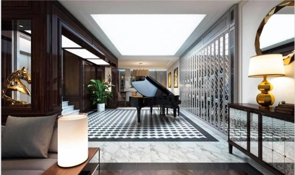 Ở giữa hành lang nối phòng khách và phòng bếp, Tuấn Hưng đặt ở đó chiếc piano để tạo cảm hứng cho những bài hát mới