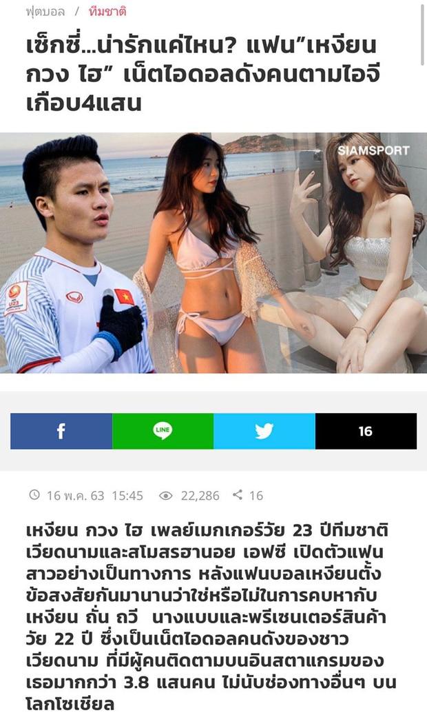 Báo Thái đưa tin Quang Hải công khai tình mới nhưng lại lấy nhầm ảnh hotgirl Thanh Thủy.