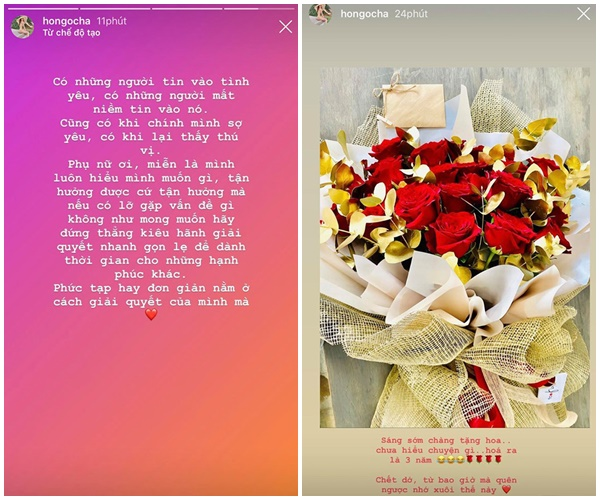 Kim Lý chuẩn bị hoa cho người yêu trong ngày đặc biệt. Hồ Ngọc Hà hạnh phúc khoe lên Instagram.