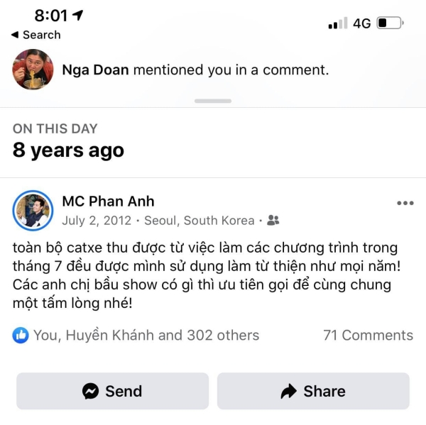Kỷ niệm 'ngày này' 8 năm trước mà facebook nhắc nhở MC Phan Anh.