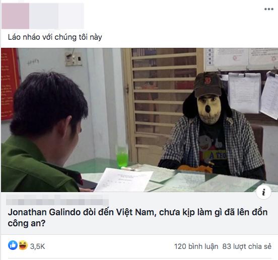 Bức ảnh ghépJonathan Galindo đến Việt Nam được chia sẻ trên mạng xã hội.