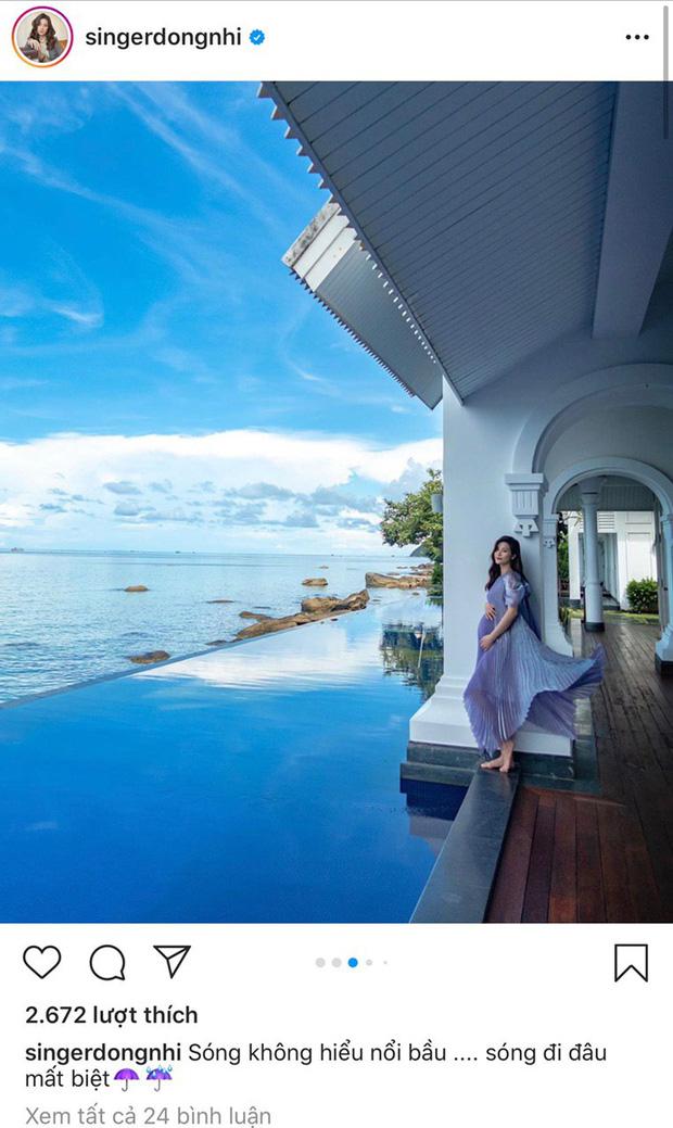 Đông Nhi thả dáng bên bờ hồ xanh biếc trong căn villa nhìn ra hướng biển