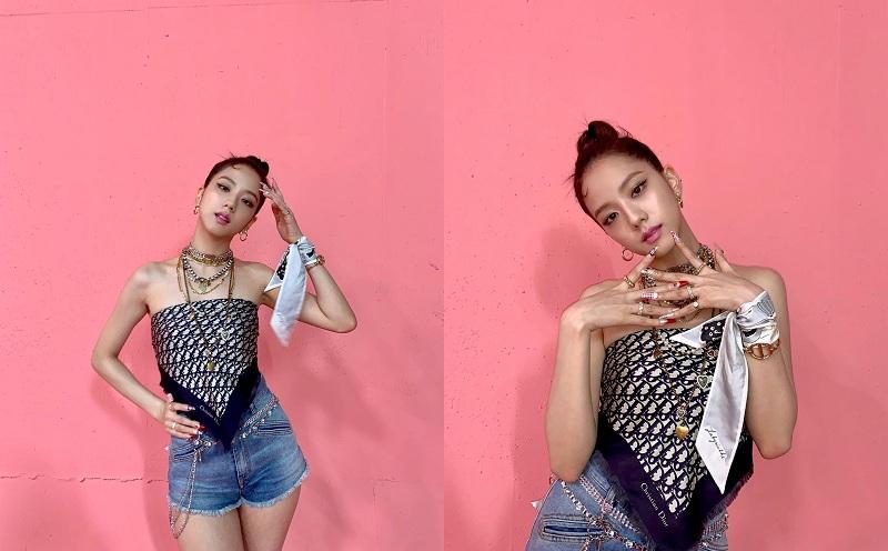 Visual nhà YG hóa thành nàng idol táo bạo, khoe bờ vai quyến rũ bằng cách lấy khăn Dior trị giá 13.5 triệu đồng làm áo. Chiếc áo quây độc đáo được Jisoo tô điểm bằng loạt phụ kiện và bộ nails bắt mắt.