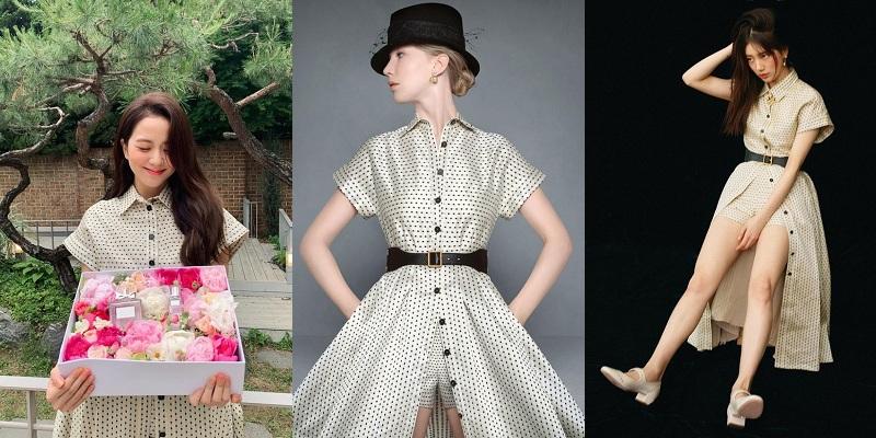 Trong bộ ảnh quảng cáo mỹ phẩm của Dior, Jisoo dịu dàng trong mẫu váy chấm bi thanh lịch của nhà mốt Pháp. Mái tóc xõa và lớp trang điểm nhẹ nhàng, ngọt ngào cũng đủ tônnhan sắc tựa thiên thần của chị cả BlackPink. Trong khi đó, cũng diện item trong bộ sưu tập Dior Thu 2020 khoe dáng, Suzy phối cùng đôi giày búp bê ton-sur-ton và phá cách để lộ quần short bên trong như nàng mẫu của hãng.