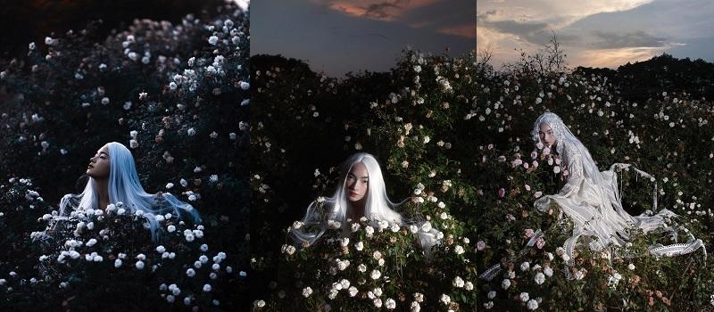 Cô nàng 23 tuổi gần như lột xác hoàn toàn trong bộ ảnh này, sexy, quyến rũ nhưng vẫn khoe được nét mặt đẹp tự nhiên vốn có. Mái tóc bạc hiện đại và thời thượng đã giúp mỹ nhân họ Bùi đẹp tựa nàng búp bê sống giữa rừng hoa.