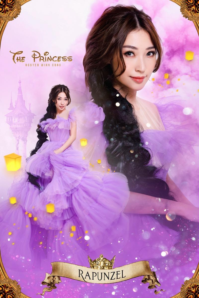 Khổng Tú Quỳnh sẽ vào vai nàng công chúa tóc mây với bộ đầm màu tím cực kỳ nữ tính, đậm chất mơ mộng. Đây chính là một phiên bản vừa gần gũi lại vừa mới mẻ, có phần độc đáo của cô công chúa Rapunsel trong bộ phim ra mắt năm 2010.