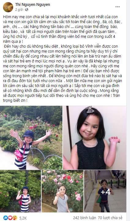 Mẹ bé Nhật Linh gửi lời cảm ơn đến tất cả mọi người đã đồng hành trong suốt 4 năm qua