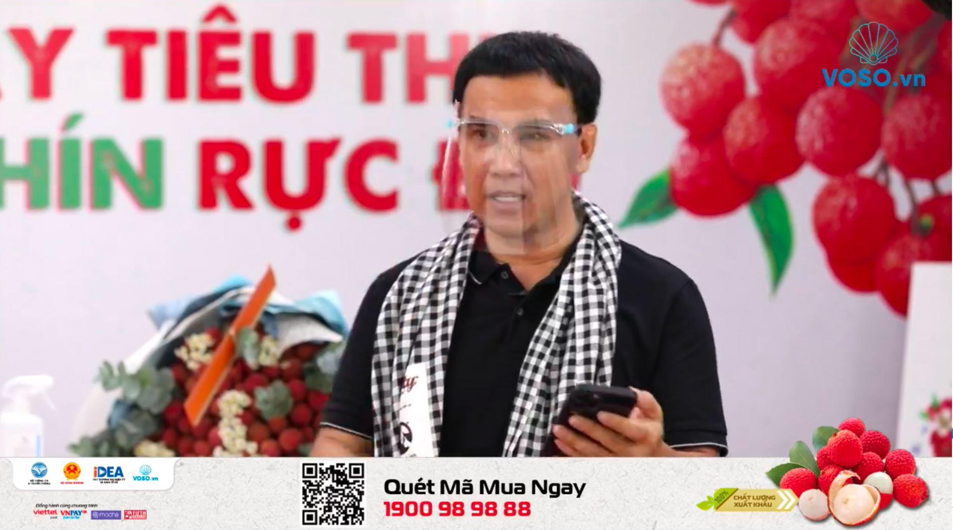 MC Quyền Linh trong livestream hỗ trợ bán vải thiều Bắc Giang