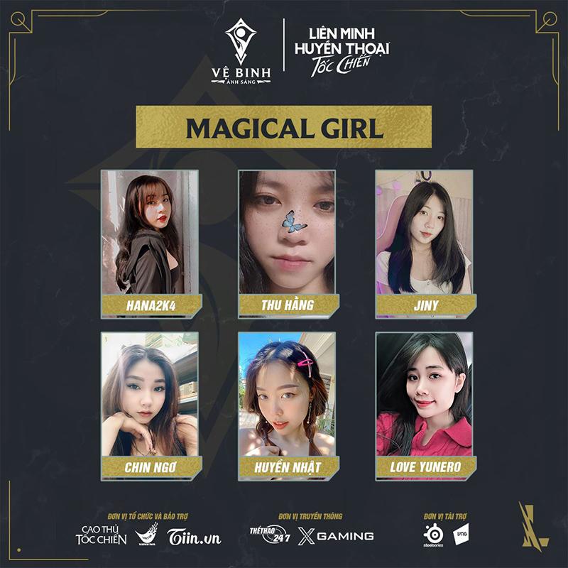 Đội hình của Magical Girl tại Vệ Binh Ánh Sáng