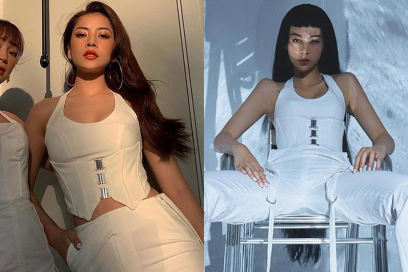 Hai người đẹp cũng từng 'chạm trán' bộ trang phục màu trắng khác, Chi Pu sexy quyến rũ còn Phí Phương Anh lại mang hình ảnh 'cool ngầu' hơn.