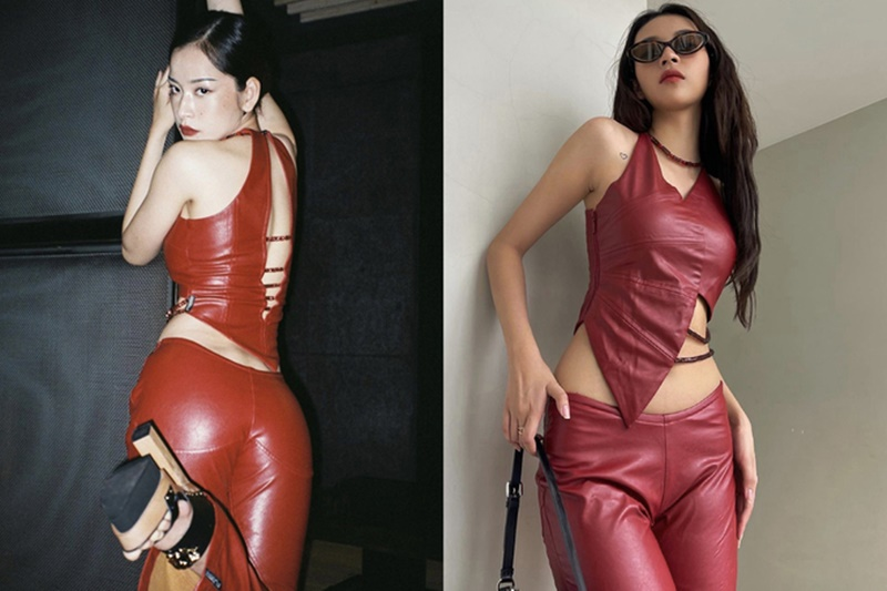 Outfit đỏ chất liệu da để 'đi quẩy' được giọng ca Anh ơi ở lại và nữ ca sĩ Cánh bướm dối gian yêu thích.