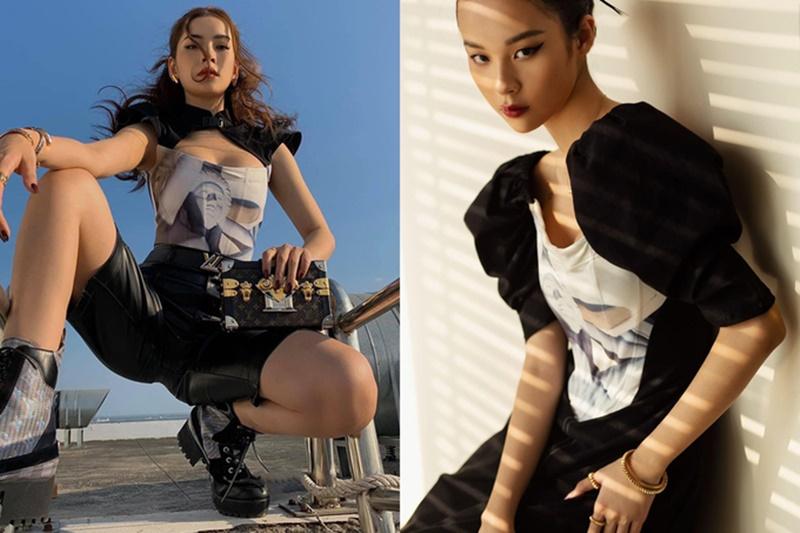 Thêm một kiểu áocorset với chi tiết hở ngực cũng được Chi Pu cà Phí Phương Anh lựa chọn, chỉ khác nhau ở chỗ Phí Phương Anh chọn kiểu tay phồng làm điểm nhấn còn Chi Pu lại trong 'hầm hố' hơn với cách mix cùng boots cao cổ.