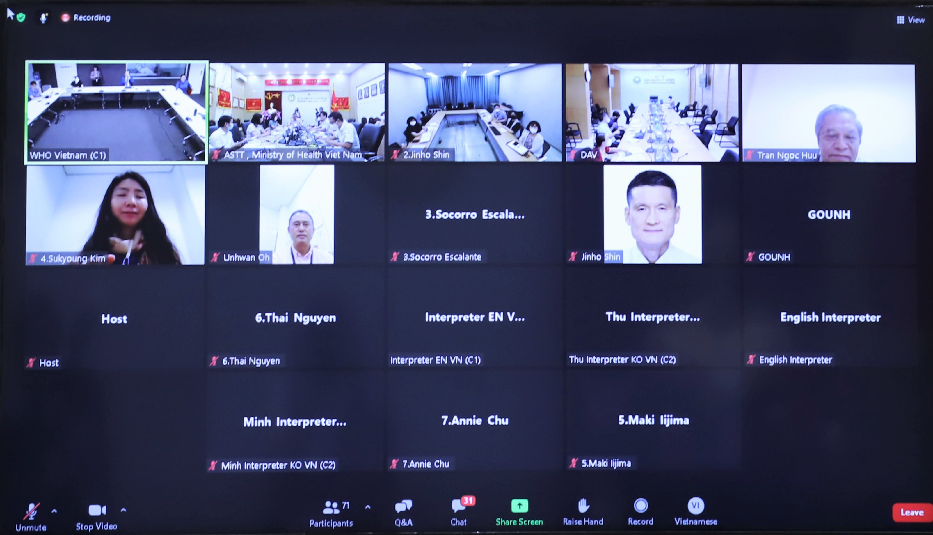 Hình ảnh trực tuyến các điểm cầu tham dự Hội thảo