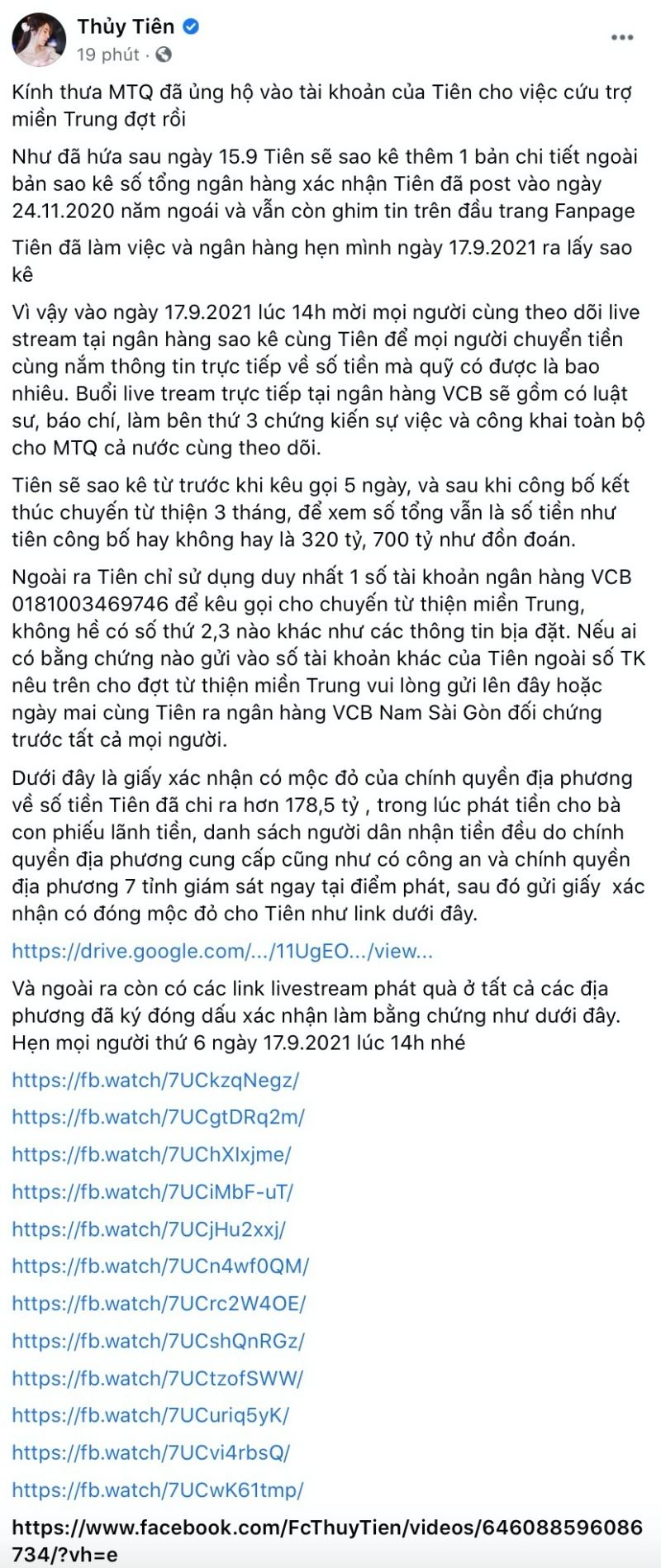 Bài đăng mới nhất của Thủy Tiên về ồn ào ăn chặn tiền từ thiện.