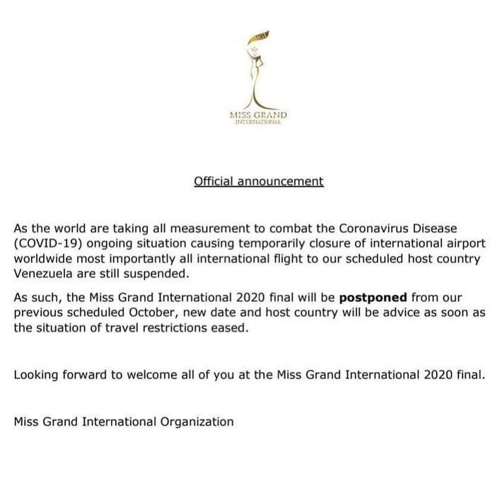 Thông báo chính thức từ Miss Grand International về việc tạm hoãn tổ chức ở mùa giải năm nay.