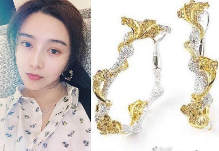 Đôi hoa tai vàng nạm kim cương này có giá khoảng 70 vạn NDT tương đương 2,3 tỷ đồng được Băng tỷ chọn đeo khi dự sự kiện triển lãm