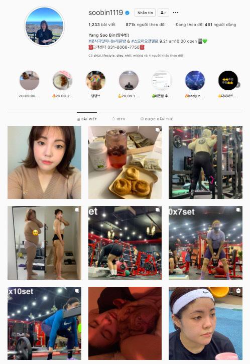 Trang Instagram cá nhân của Yang Soo Bin tràn ngập hình ảnh đồ ăn và tập luyện trong suốt hơn 1 năm qua