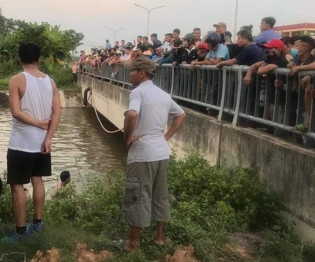 Đoạn kênh đào (sông đào) chảy qua thị trấn Hợp Hòa, huyện Tam Dương, tỉnh Vĩnh Phúc, nơi xảy ra sự việc thương tâm.
