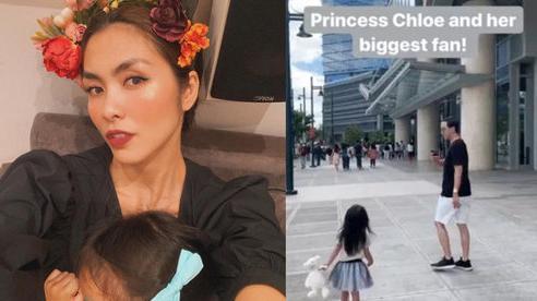 Tăng Thanh Hà khoe khoảnh khắc ông xã Louis Nguyễn mải mê chụp hình cho con gái cưng