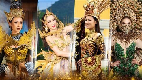 Hoa Thái diện áo dài thêu rồng cầu kỳ dự thi Trang phục dân tộc tại Hoa hậu Trái đất 2020