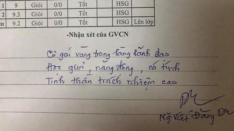 Thầy giáo 'nhà người ta': viết lời phê trong sổ liên lạc cũng gây sốt khắp mạng xã hội
