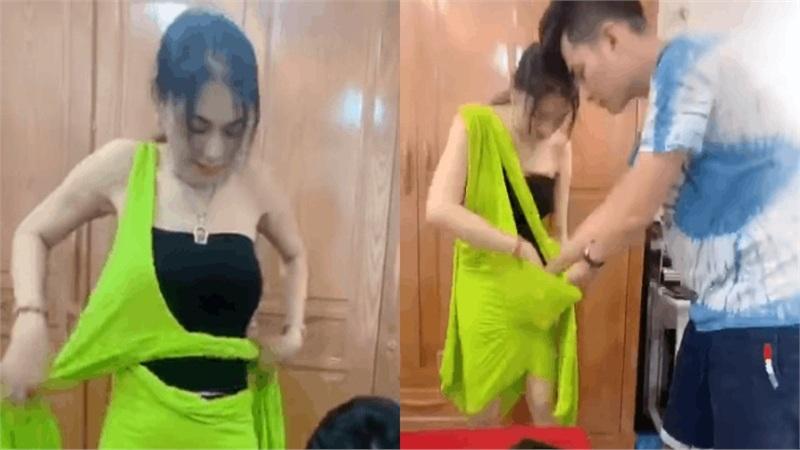 Lâm Khánh Chi xé hư đầm mới mua vì không biết mặc, ông xã cũng toát mồ hôi hột khi trợ giúp