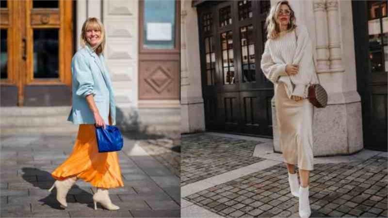 Gợi ý mix đồ với váy lụa satin cho mùa thu thêm lãng mạn