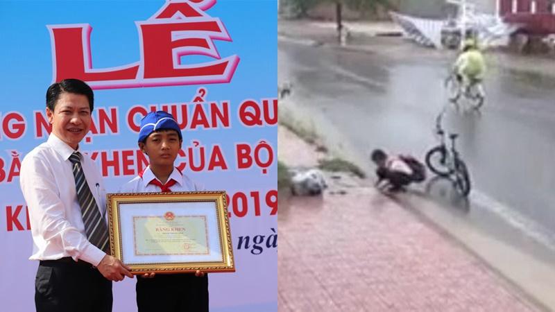 Bộ GD-ĐT khen thưởng cậu học trò dùng tay không nhặt rác khơi thông cống giữa trời mưa