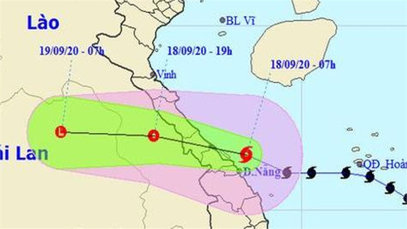Bão số 5 đã suy yếu thành áp thấp nhiệt đới