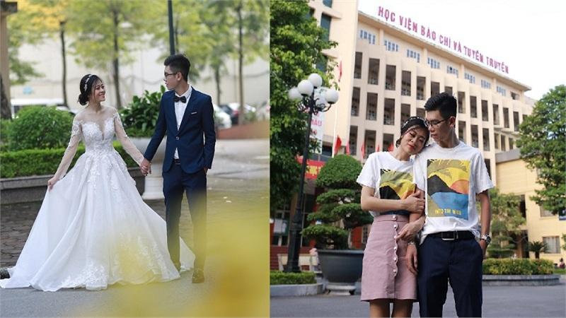 Đôi bạn trẻ chung lớp, chung trường 'về chung một nhà' với bộ ảnh cưới 'tình bể bình' ngay tại khuôn viên trường đại học
