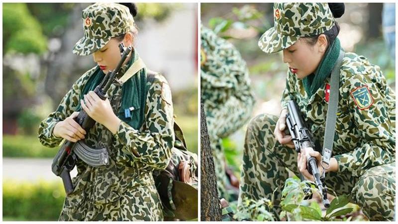 HH Kỳ Duyên hóa 'Cô bộ đội', đẹp hút hồn khi khoác lên mình bộ quân phục màu xanh
