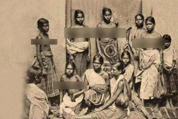Hình ảnh các cô gái tầng lớp thấp thời đó phải để ngực trần.