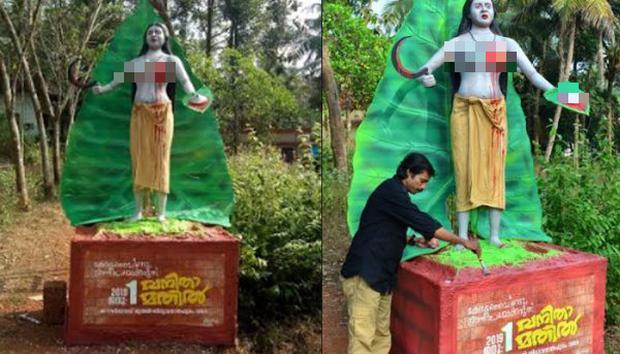 Bức tượng Nangeli được người dân dựng nên để tưởng nhớ tới bà.