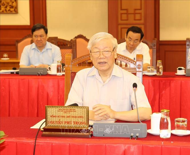 Tổng Bí thư, Chủ tịch nước Nguyễn Phú Trọng phát biểu chỉ đạo tại buổi làm việc.