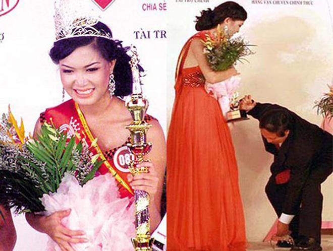 Thùy Dung vướng sự cố rơi vương miện ngay lúc trao giải thưởng.