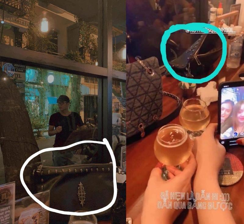 Chiếc túi xách xuất hiện trong ảnh của Chí Nhân (trái) và túi xách của Quỳnh Kool (phải).