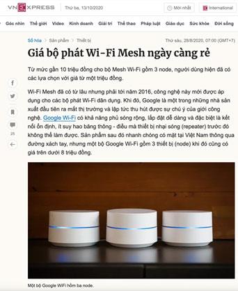 Báo Vnexpress đăng tải thông tin về gói cước Homewifi