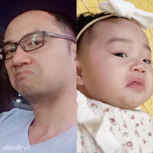 Bức ảnh hai bố con bé Linh Giang có chung biểu cảm 'quạo' khiến cư dân mạng không thể nhịn cười.