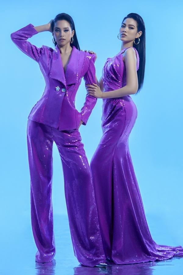 Hoa hậu Tiểu Vy cá tính trong bộ vest suông. Với mốt không nội y, người đẹp tinh tế khoe lấp ló vòng 1.