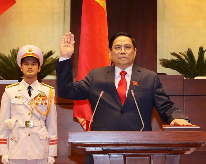 Thủ tướng Phạm Minh Chính tuyên thệ nhậm chức trước Quốc hội, đồng bào và cử tri cả nước. (Ảnh: Thống Nhất/TTXVN)