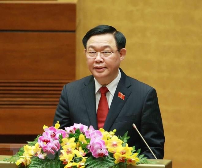 Chủ tịch Quốc hội Vương Đình Huệ phát biểu tại phiên họp. (Ảnh: Phương Hoa/TTXVN)