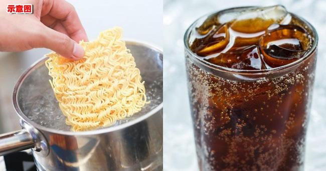 Bác sĩ cho biết việc ăn uống kết hợp giữa mì tôm và nước ngọt có ga là khá nguy hiểm (Ảnh minh họa).