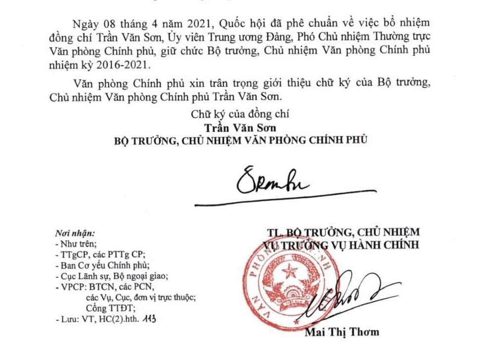 Chữ ký của Bộ trưởng, Chủ nhiệm Văn phòng Chính phủ Trần Văn Sơn