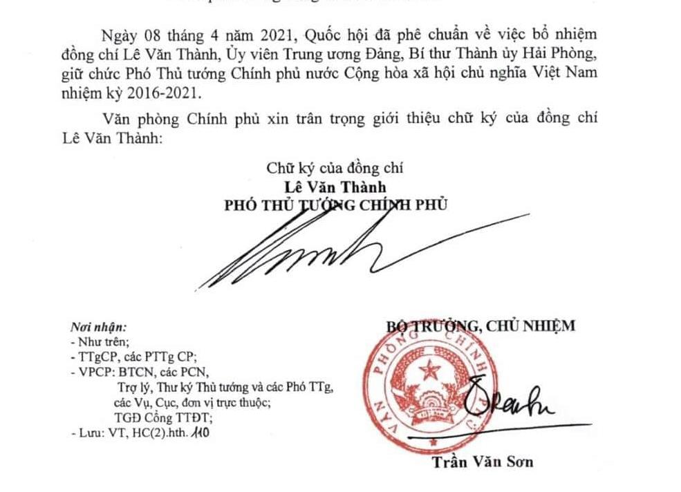 Chữ ký của Phó Thủ tướng Lê Văn Thành