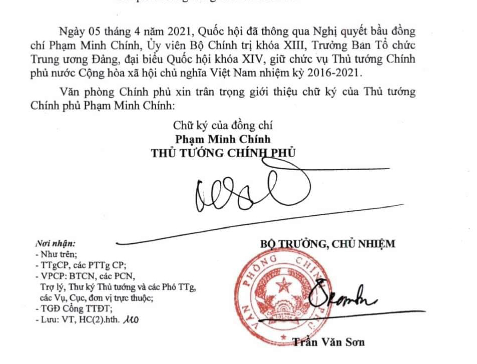 Chữ ký Thủ tướng Phạm Minh Chính