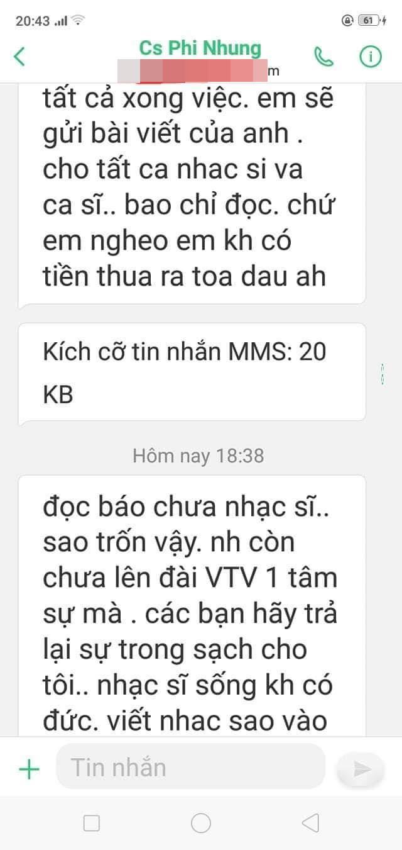 Tin nhắn do Phi Nhung gửi cho nhạc sĩ Hồng Xương Long