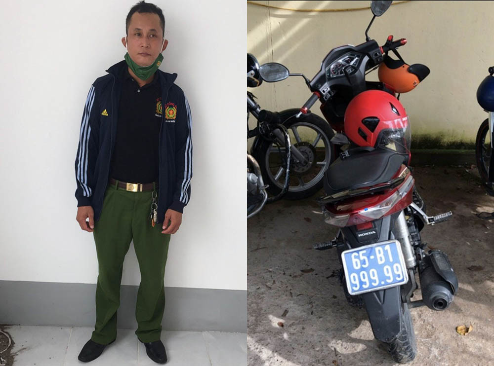 Đối tượng Sơn mặc trang phục cảnh sát và chạy xe biển xanh giả 99.999